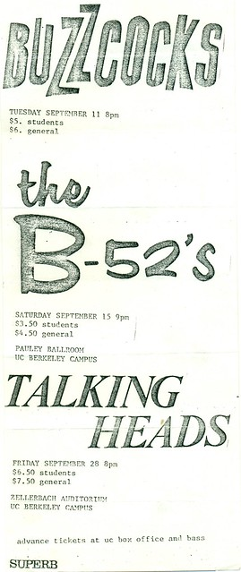 Buzzcocks, B-52's, Talking Heads, U.C. Berkeley Campus, Berkeley, CA 1980