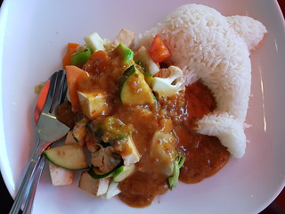 Lunch Special Todu and Veggies with Satay Sauce at PingAn Veggie Time
