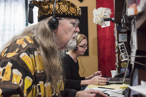 Tommy Boehm on the phone at WWOZ Spring 2018 Pledge Drive final day on March 23, 2018. Photo by Ryan Hodgson-Rigsbee RHRphoto.com