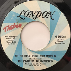 OLYMPIC RUNNERS:PUT THE MUSIC WHERE YOUR MOUTH IS(LABEL SIDE-A)