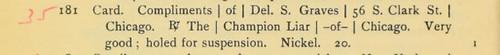 Champion Liar of Chicago Lyman Low catalog entry