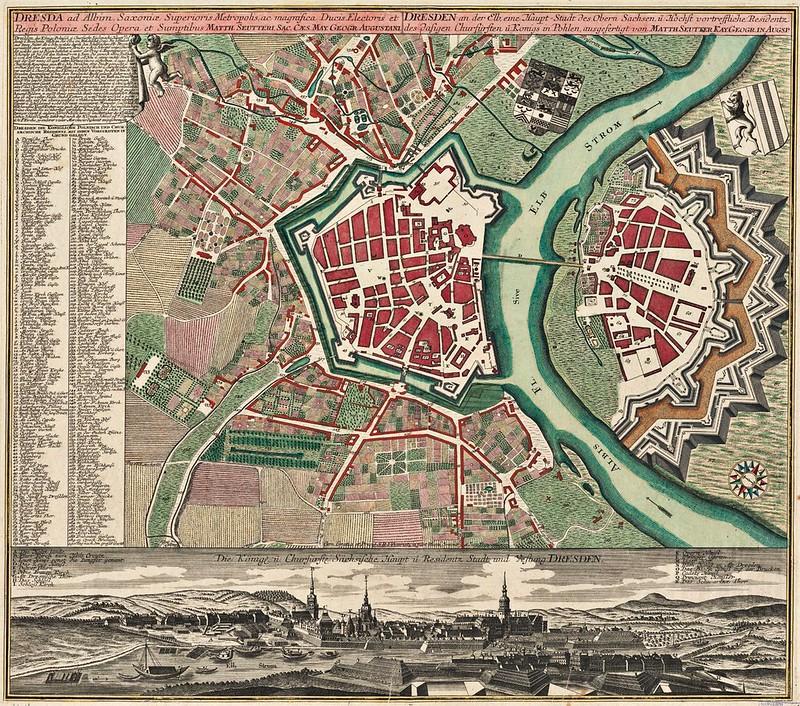 Matthaeus Seutter - Dresda ad Albim, Saxoniæ superioris metropolis ac magnifica ducis electoris et regis Poloniæ sedes (1740)