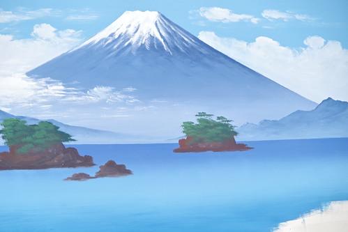 Mt.Fuji public bath landscape live painting 17