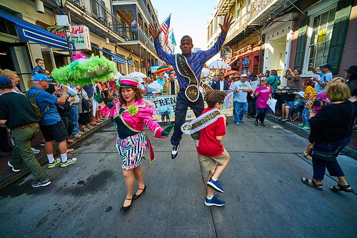 Dancing Man 504 at the opening kickoff parade Day 1 of French Quarter Fest - April 12, 2018. Photo by Eli Mergel.