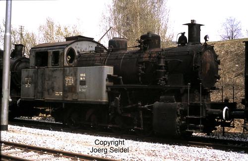 DE-94239 Gotteszell Bahnhof Regentalbahn Dampflok Bayerwald 04 (Maffei 1927/5683) im Mai 1982
