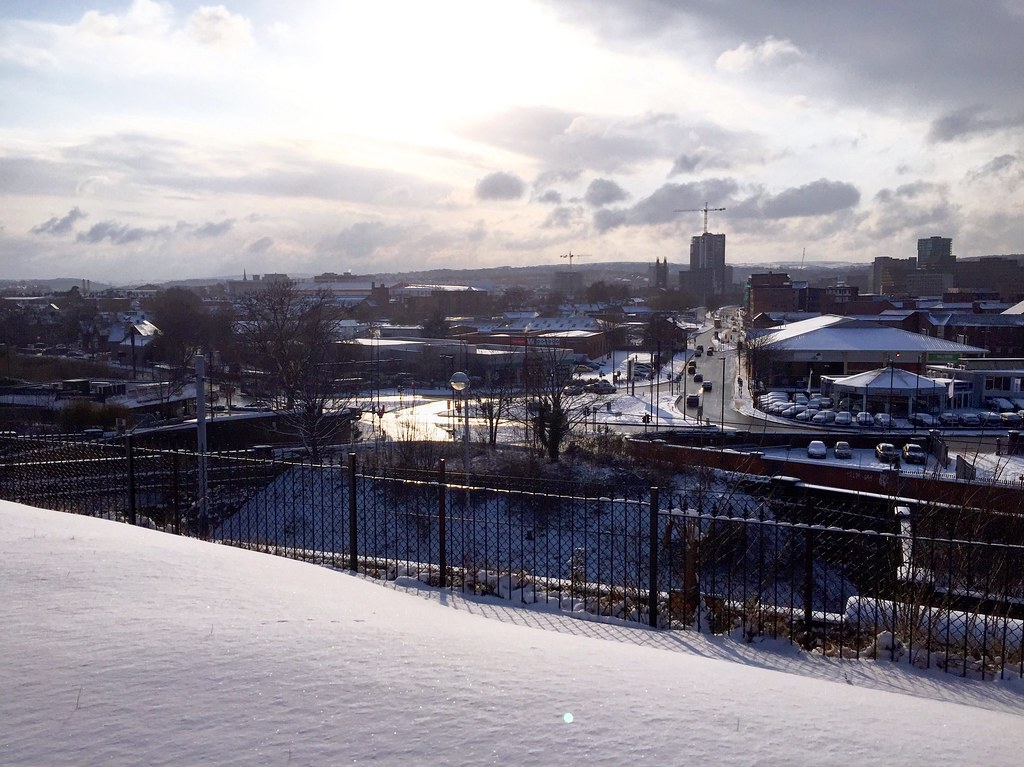 View across Sheffield city in the snow