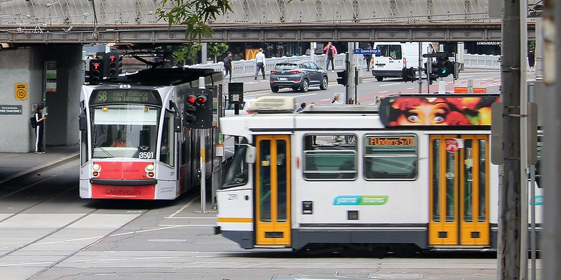 Trams in Flinders Street
