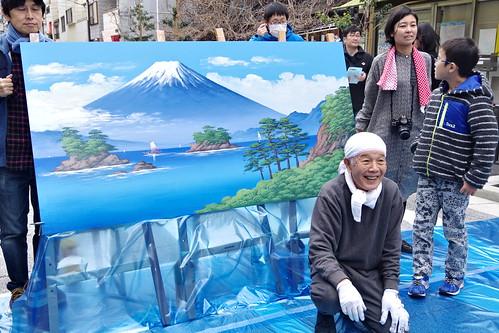 Mt.Fuji public bath landscape live painting 43