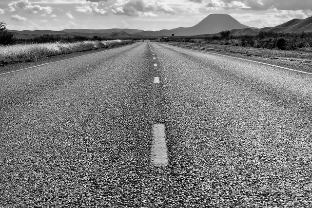 Centered and on a Road Trip (Black & White)