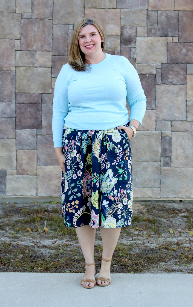 floral cotton midi skirt, aqua tippi, nude wedge sandals 6