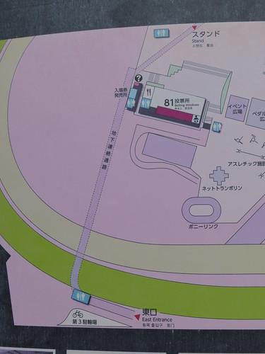 福島競馬場の東口のマップ