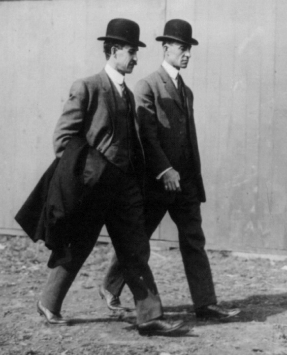 The Wright brothers at the International Aviation Tournament, Belmont Park, Long Island, N.Y., October 1910.