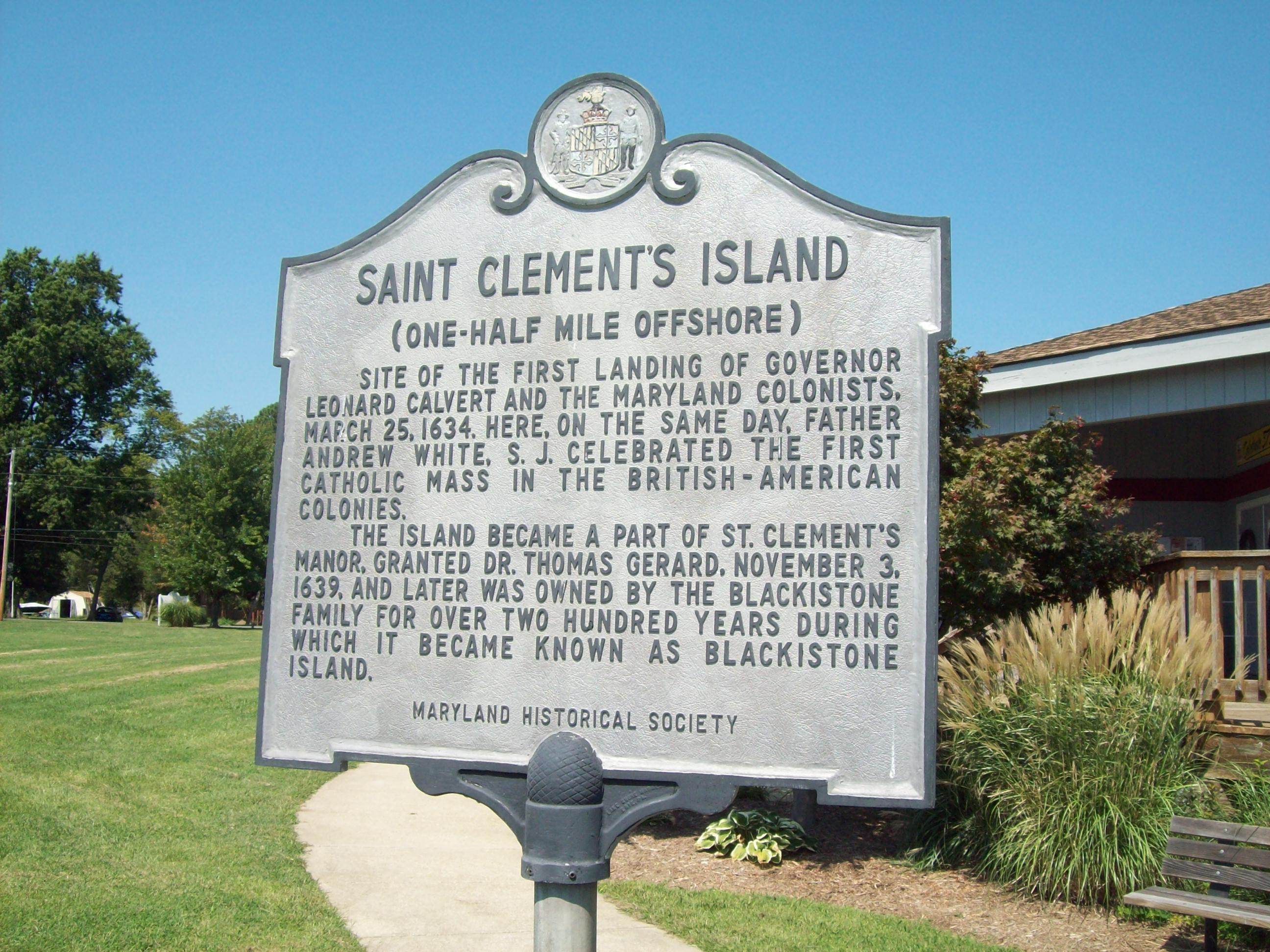 St. Clement's Island Historic Marker at Coltons Point, Maryland, which was added to the National Register of Historic Places on April 10, 1972. are located a small historical museum, a lighthouse, a post office, and a Catholic devotional monument to the miraculous medal. Seasonal boat service at times carries visitors the short distance to the shrinking, uninhabited St. Clement's Island. Photo taken on September 5, 2009.