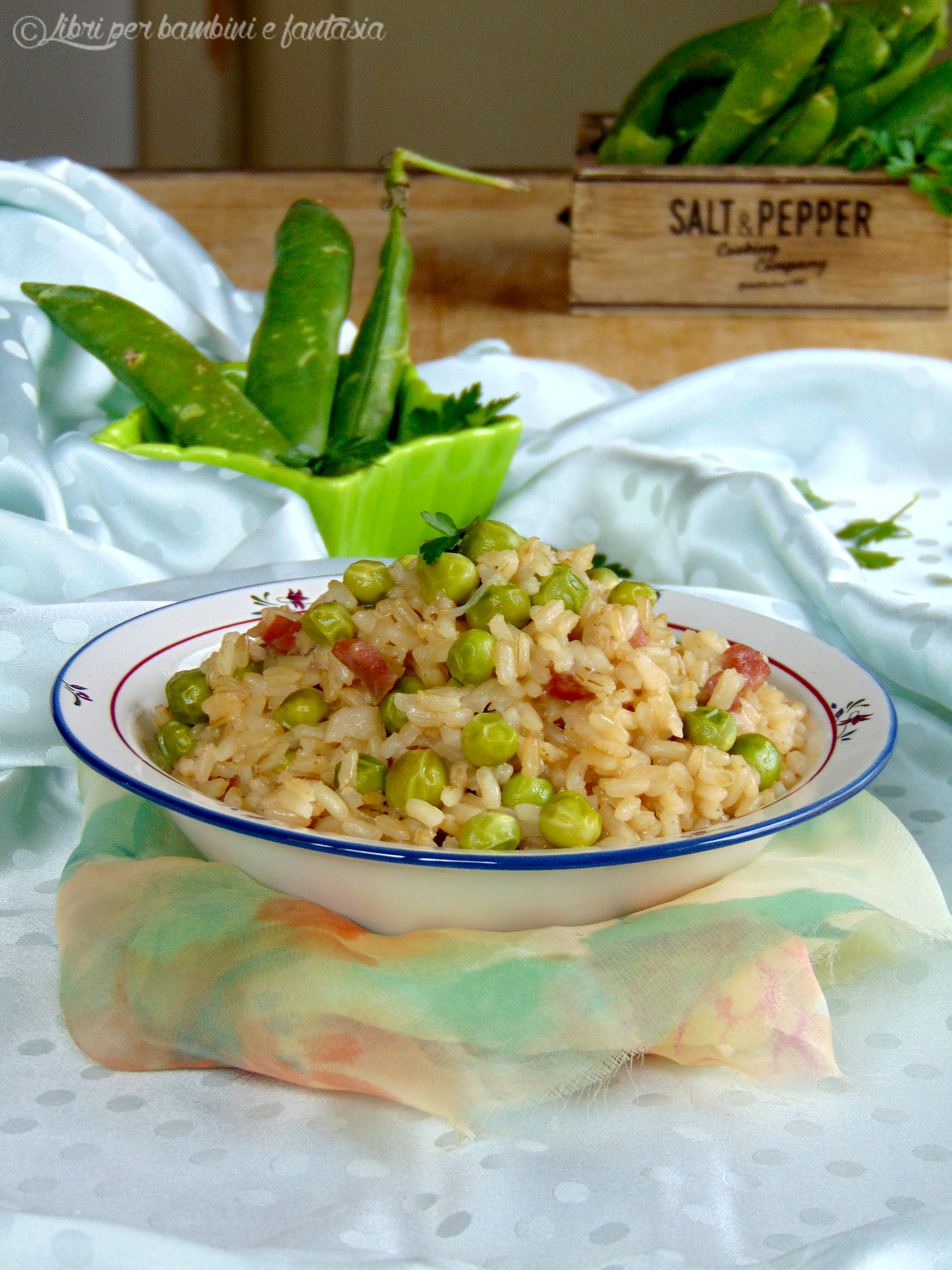 risotto integrale con piselli e pancetta1