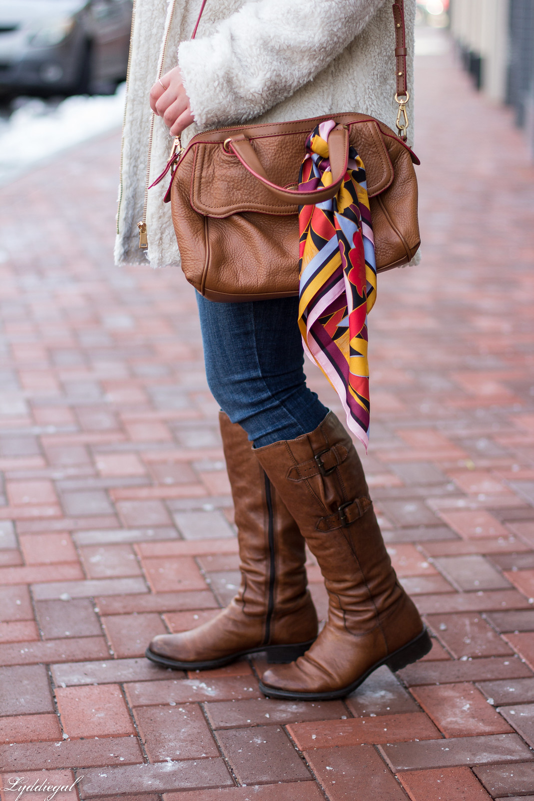Teddy coat, white sweater, brown leather boots, wool fedora-24.jpg