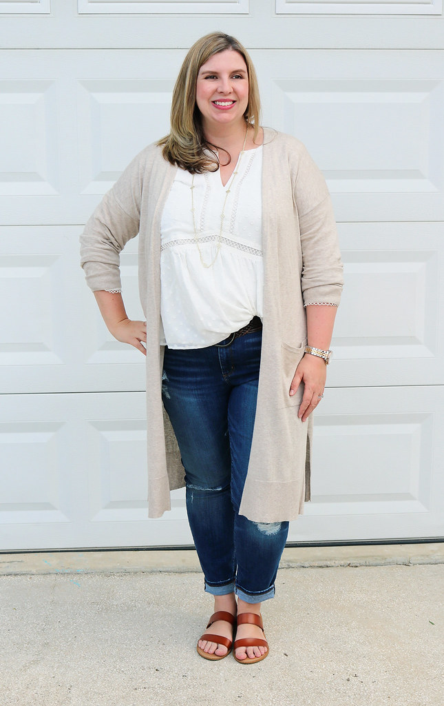 white peasant top, long tan cardigan, distressed jeans, double strap sandals 6