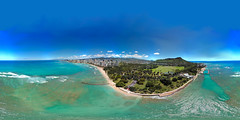 Queen's Surf Beach in Waikiki from my Mavic Pro hovering 357 feet out and 310 feet up - an aerial 360 Equirectangular VR from my DJI Mavic Pro