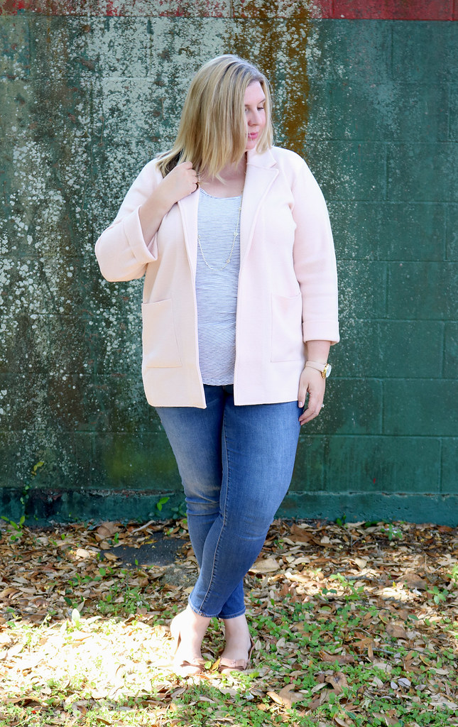 blush sweater cardigan, skinny jeans, black and white stripe luxe tank, bow flats 3