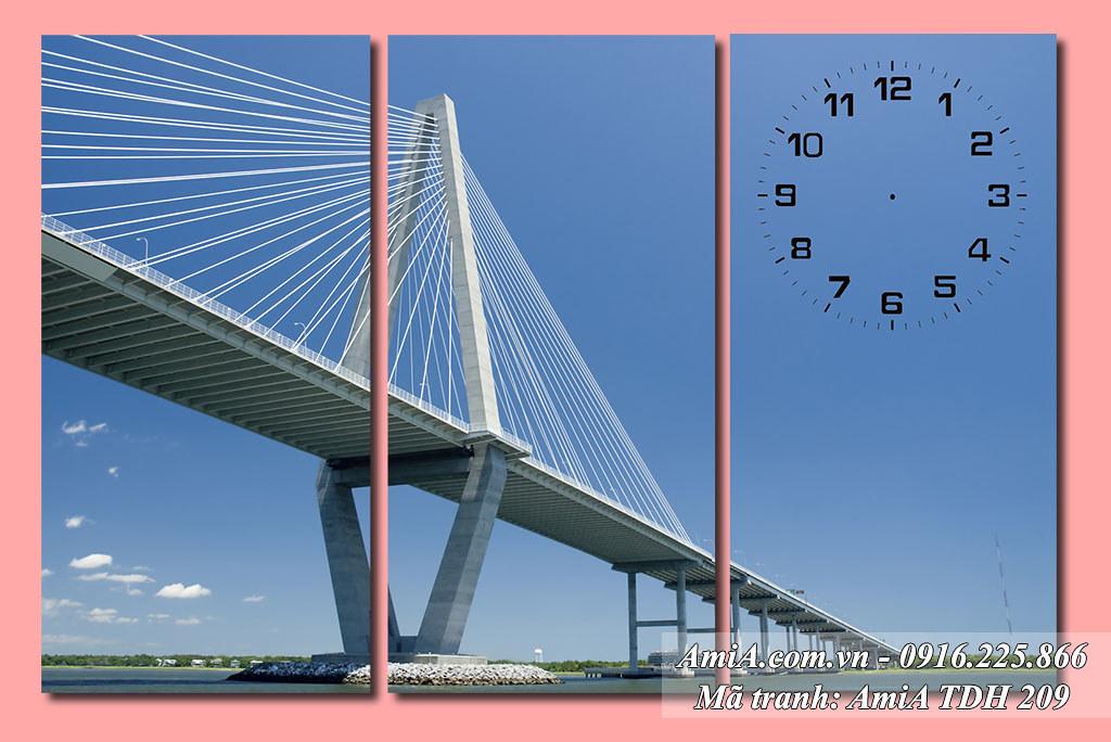 AmiA 209 - Tranh cây cầu dài một công trình kiến trúc quê hương