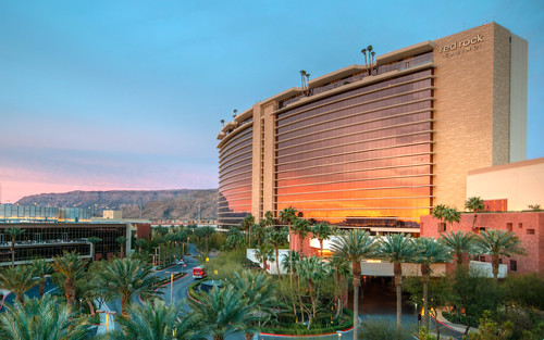 red rock hotel casino las vegas sunrise mountain redrock redrocks hotelcasino sun reflection desert