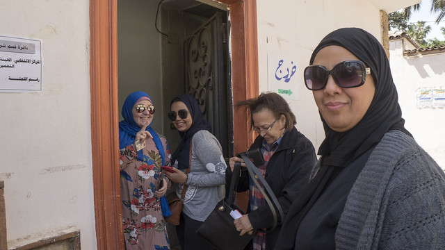Egyptian voters at a polling station in Egypt's Presidential elections 2018