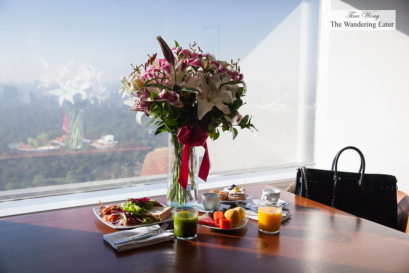 Fresh lilies and snacks at my suite room with a view