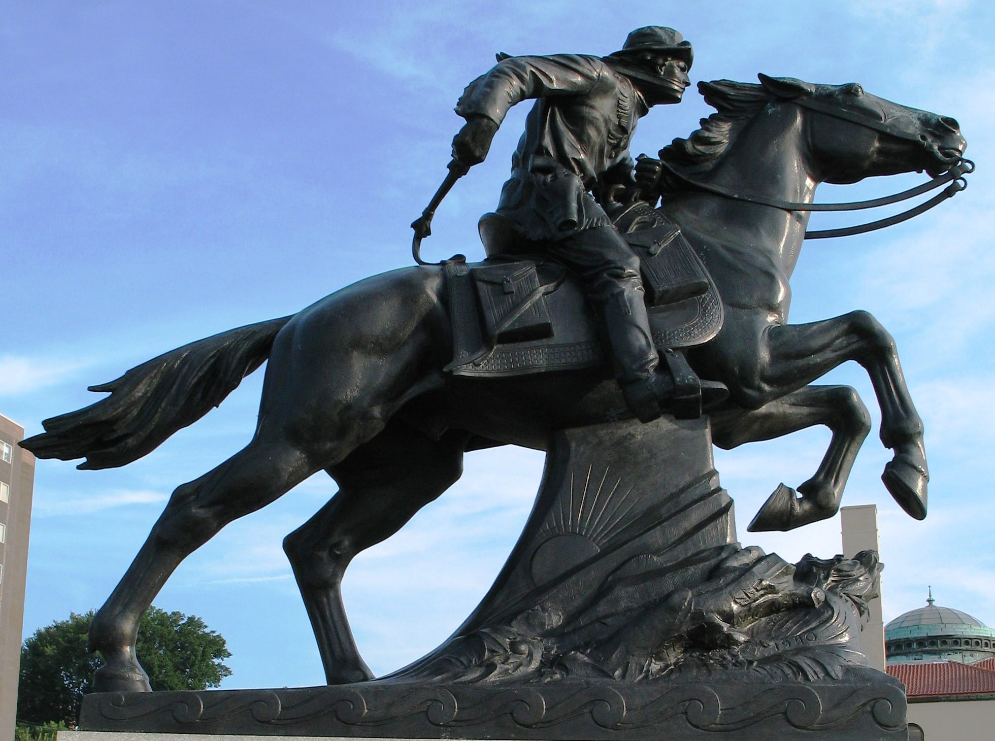 Pony Express statue in St. Joseph, Missouri. Photo taken on August 24, 2006.