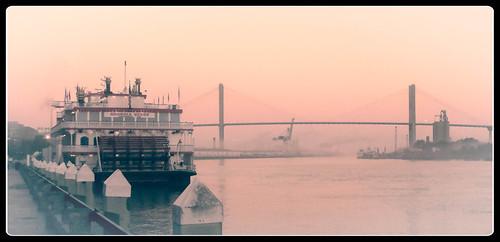 boat fog georgia savannahgeorgia shoreline sunrise savannah unitedstates us