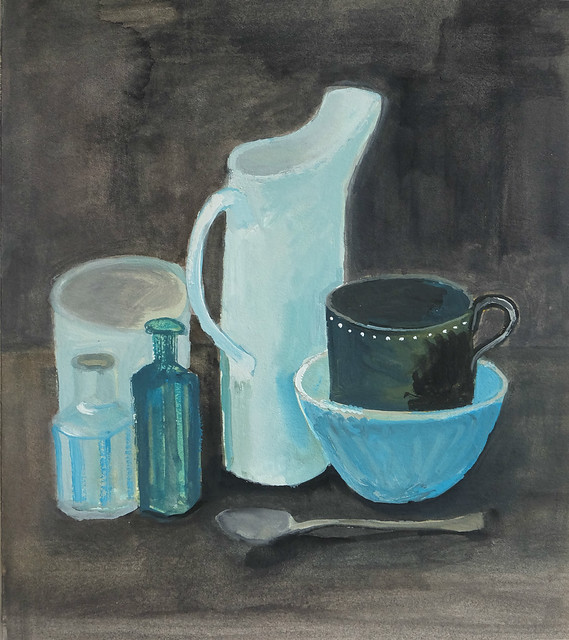 still life with turquoise bowl