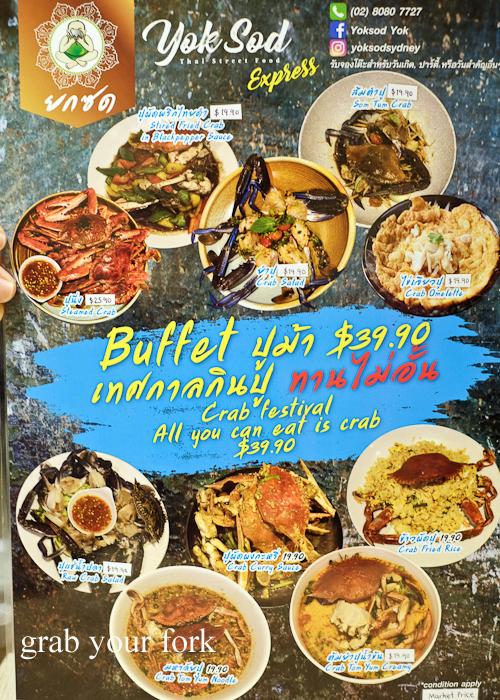 All-you-can-eat crab festival menu at Yok Sod Thai at Mr B's in Haymarket Sydney