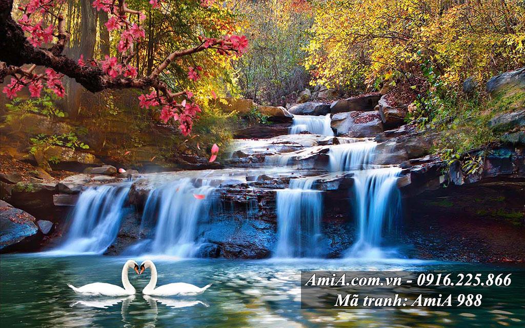 Làm tranh phong cảnh thác nước đẹp nhất Hà Nội