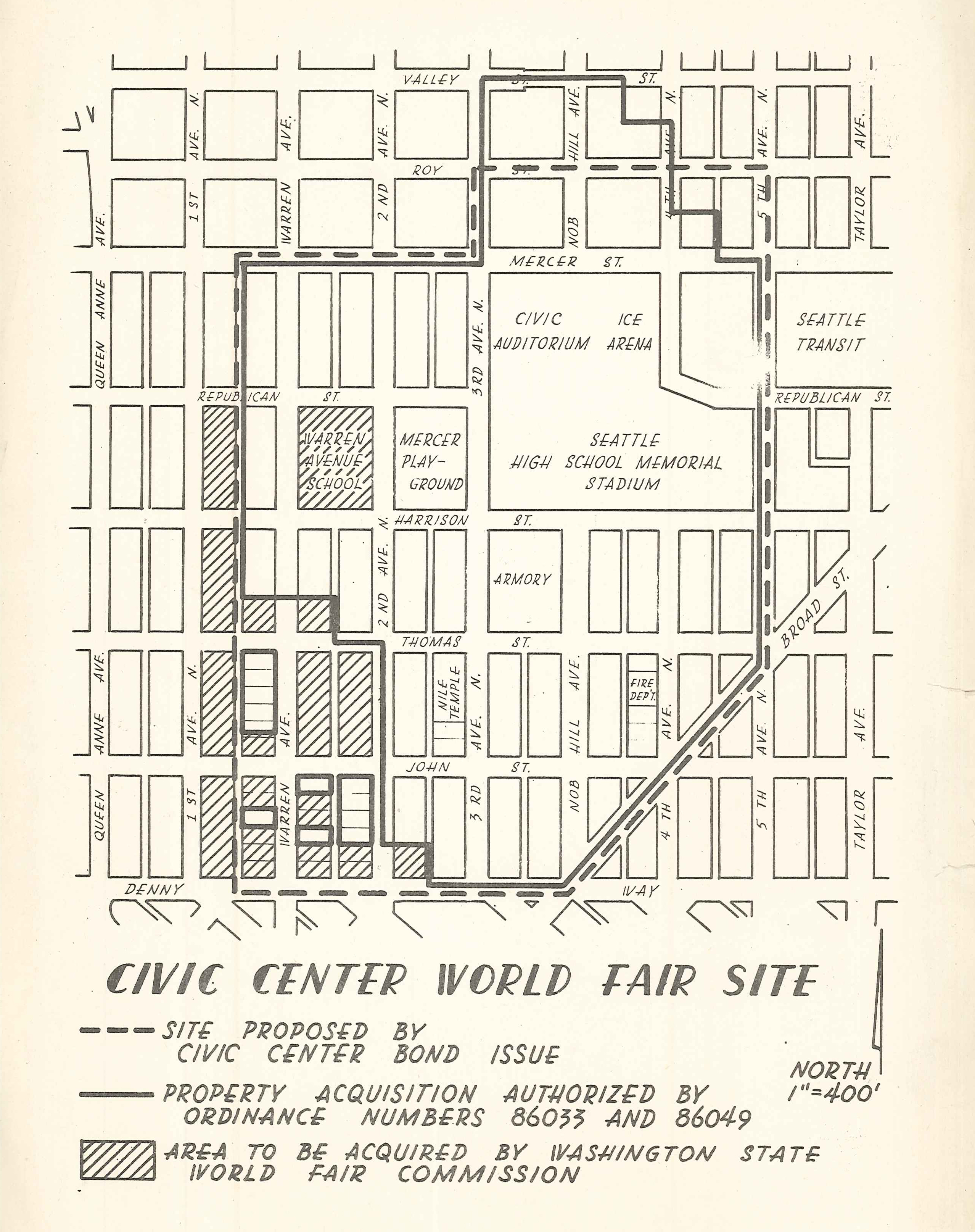1960 map of what became the grounds of the Century 21 Exposition and later Seattle Center.