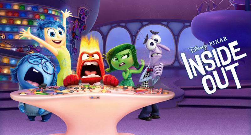 "Lima emosi manusia, Joy (kegembiraan), Sadness (kesedihan), Anger (kemarahan), Fear (ketakutan), dan Disgust (kemuakan) diwujudkan dalam karakter di film animasi ""Inside Out""."