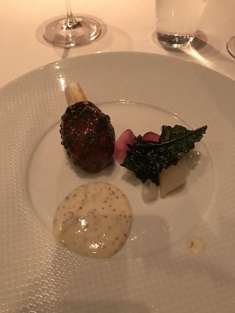 Braised Lamb Shank | Sautéed Garden kale and mustard bechamel