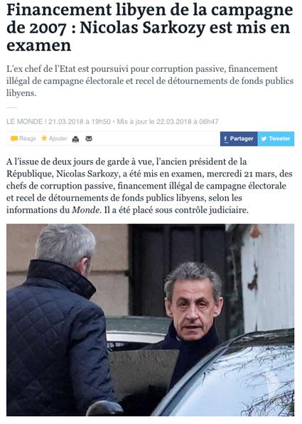 18c22 Sarkozy imputado por financiar su campaña con dinero Monde
