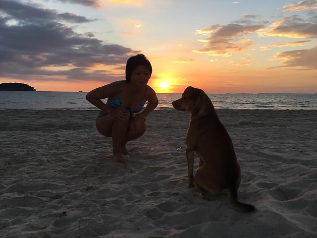 オートレスビーチの夕日と犬と自分