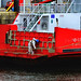 Scotland Greenock the ship repair dock the aft loading ramp of the car ferry Sound of Soay being painted 22 March 2018 by Anne MacKay