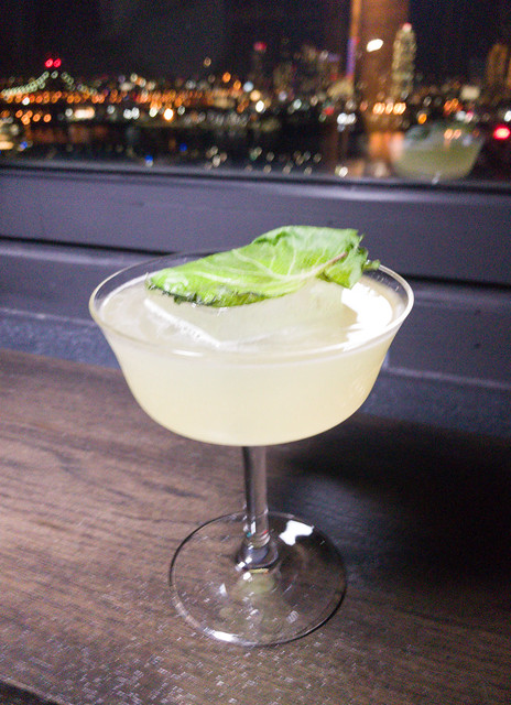 Far East Side cocktail - Shiso infused Mizo Shochu, Tanqueray gin, yuzu, yellow chartreuse