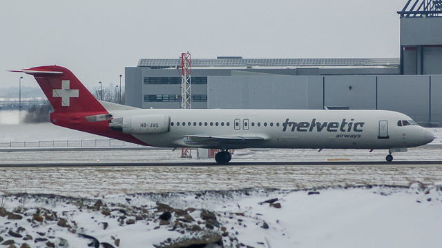 HB-JVG - Helvetic f100 @ Cardiff Airport 180318