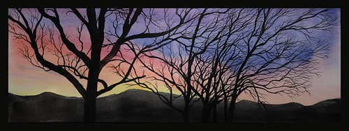 art fineart watercolor painting sunrise sky trees carbondale colorado rockies