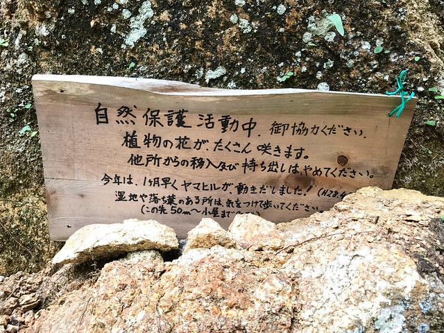 仙ヶ岳 林道 自然保護活動板