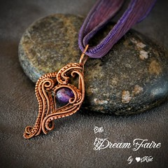 Captured Dusk - Amethyst and Woven Copper Wire Necklace