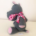 Big Ribbon on Pink and Gray Hippo