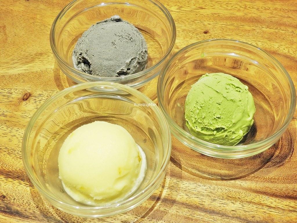 Premium Black Sesame Ice Cream, Premium Matcha Ice Cream, Premium Yuzu Sorbet