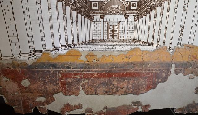 Fragment of fresco from the civic basilica of Ulpia Oescus, Pleven Regional Historical Museum, Bulgaria