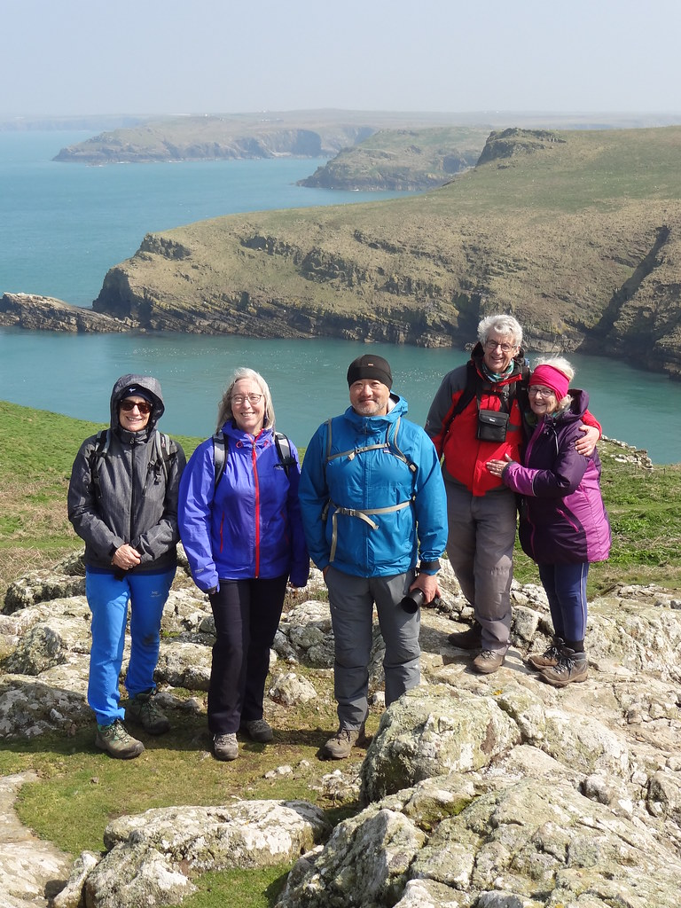 Steffi, Hazel, Charles, Dave and Gwyneth on the rock outcrop above Harold Stone Skomer