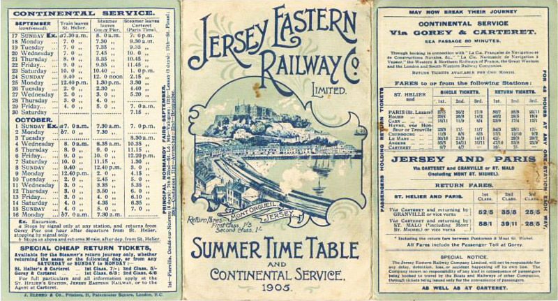 1905 timetable of the Jersey Eastern Railway. Image courtesy of theislandwiki.org.