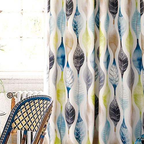 繽紛水漾紋絨 絨布面 葉脈 水紋 半遮光無接縫窗簾布 DA2590006