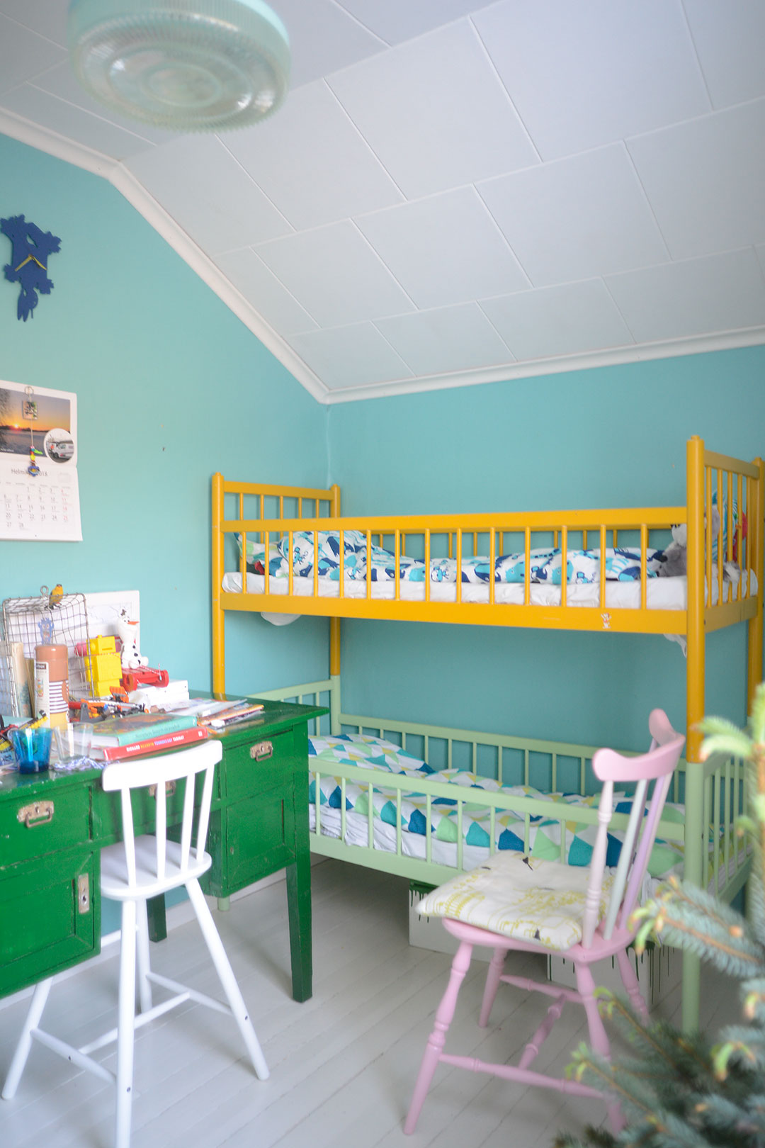 Colorful boys room with vintage bunk bed