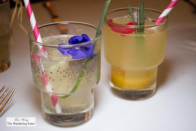 Lemon with chia agua and Mango passion fruit soda